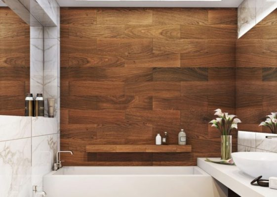 Bathroom Design With Wood Trim : Amazing bathrooms with wood like tile preview chicago