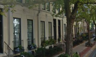 Tree-lined street outside Burton Place Row House